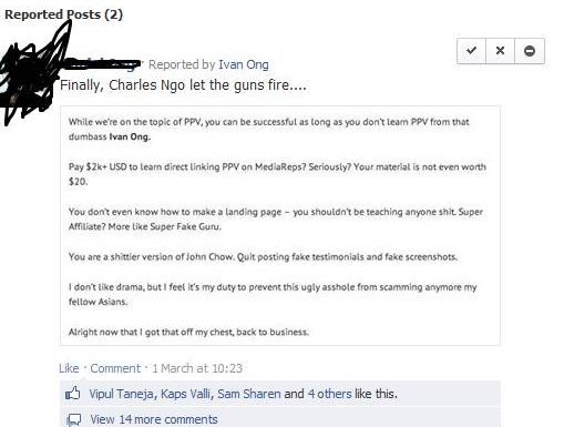 My opinion about Charles Ngo`s and Ivan Ong`s posts