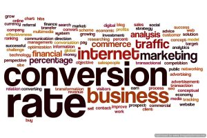 Conversion rate concept word cloud background