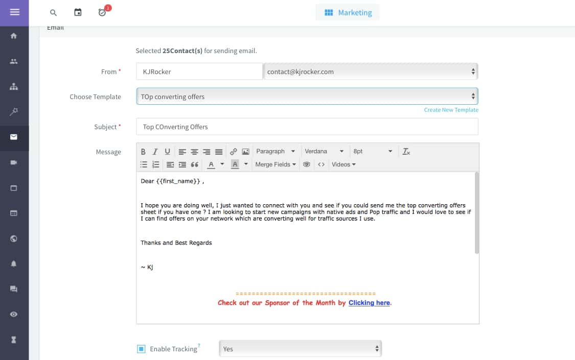 Email Template for requesting top converting CPA offers