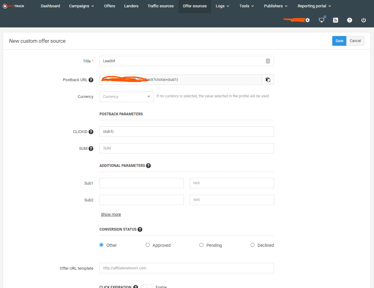 Add Offer Source On RedTrack